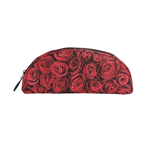 zzkko rot Rose Reißverschluss Pen Bleistift Tasche für Kinder Mädchen Jungen Jugendliche Erwachsene