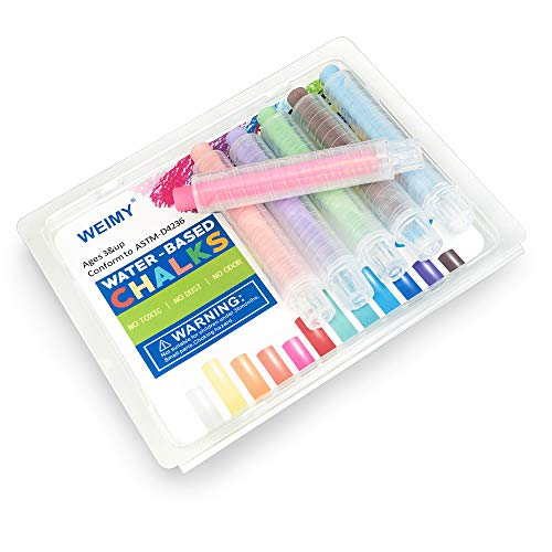 WEIMY Dustless Twistable Chalk Non-Toxic Colored Chalk 1.0mm Tip Art Tool for Chalkboard Blackboard Kids Children Drawing Writing, 6 Pack(Pink, Coral Orange, Light Blue, Light Green, Purple, Brown)