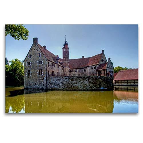 CALVENDO Premium Textil-Leinwand 120 x 80 cm Quer-Format Lüdinghausen - Burg Vischering, Leinwanddruck von Paul Michalzik