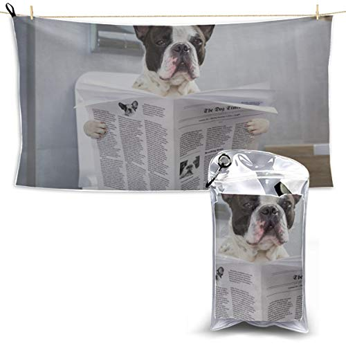 YUMOING Toilet Bulldog Watch Newspaper Soft Microfiber Towel Kitchen Towels for Camping Outdoor Sport Towel Travel Towel Microfiber 27.5'' X 51''(70 X 130cm) Best for Gym Travel Camp Yoga Fitnes