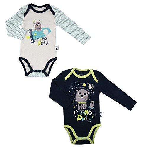 Petit Béguin - Lot de 2 bodies bébé garçon manches longues Cosmo Party - Taille - 9 mois (74 cm)