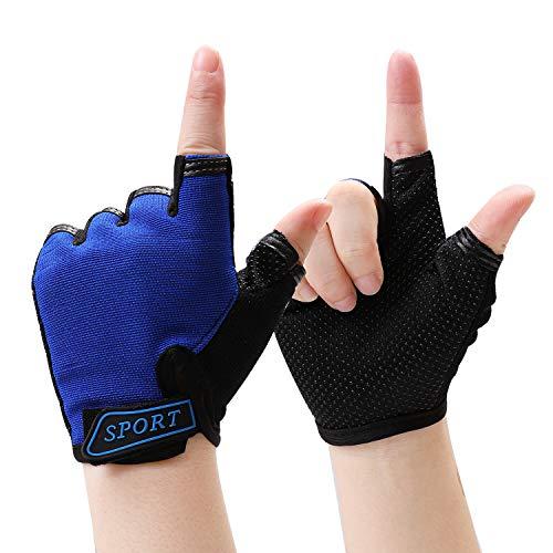 Cooraby Kinder Halbfinger-Handschuhe Outdoor Sport fingerlos kurze Handschuhe rutschfeste Fahrradhandschuhe Fäustlinge für Mädchen Jungen Sport