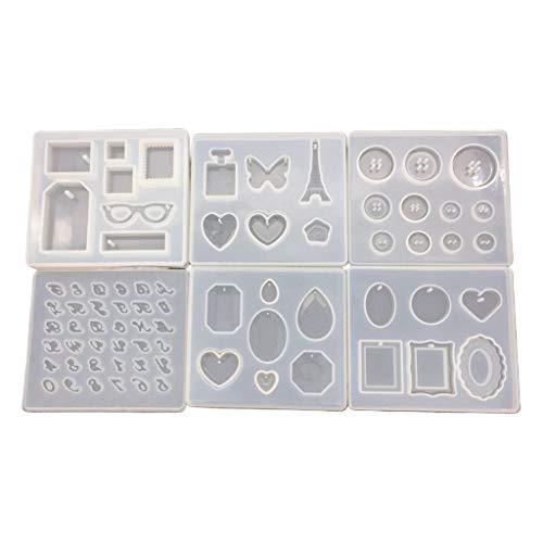 KAIBING 6 Pcs/ensemble Cristal Pendentif Moule DIY Diamant Numérique Lettre Bouton Silicone Moule Manuel Décoratif Ornements