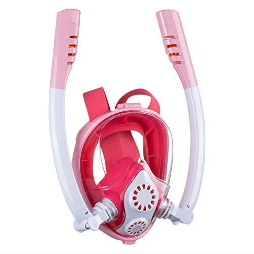 YUANP Tauchmaske Schnorchelmaske Neue Doppelröhren-Vollgesichts-Schnorchelmaske View Easy Breath Anti-Fog Anti-Leak Mit Kamerahalterung Für Erwachsene Kinder,Red