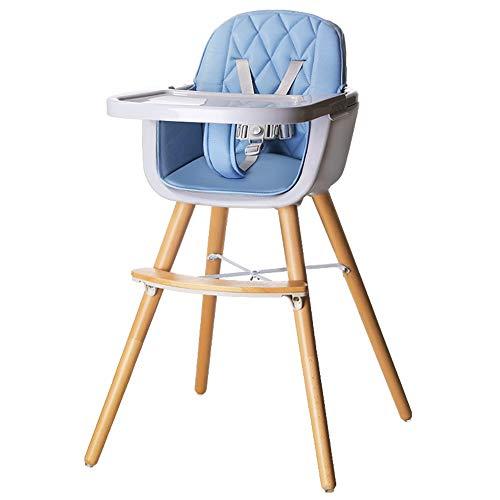 Trona para bebé, silla de alimentación de madera con arnés de asiento de 5 puntos, patas ajustables, bandeja desmontable, cojín cómodo, para bebés, niños pequeños, niños (Blue)