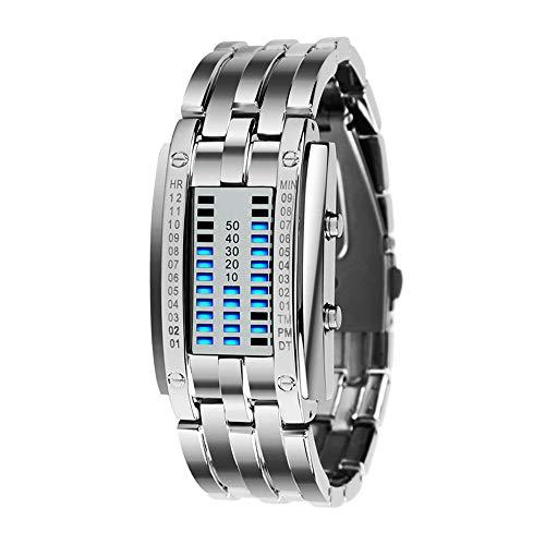 TONSHEN Fashion Binäre Edelstahl Digital Uhren für Herren und Damen Kalender LED Blau Licht Einzigartiges Design Silber Rechteck Bezel Cool Armbanduhr (Damen)