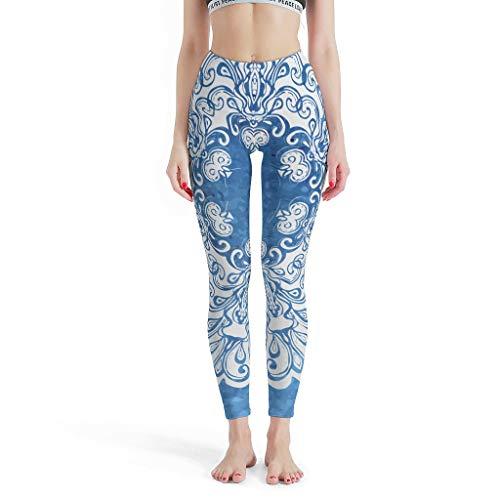O5KFD&8 Mandala - Leggings de Fitness para Mujer, 4 vías, elásticos, diseño de Mandala Blanco, para Deporte, Entrenamiento Activo, Leggings Capri para Mujer, Color Azul, Color Blanco, tamaño Small