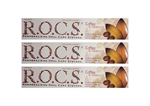 3x ROCS Kaffee und Tabak Whitening Zahncreme 74g Zahnpasta Zahnweiss r.o.c.s.