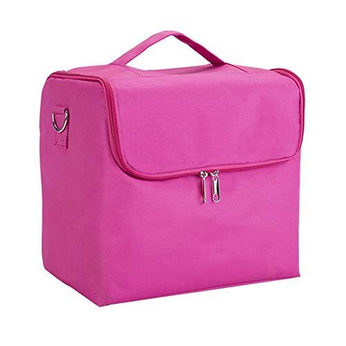 EMOHKCAB Professionele make-up organizer opbergkoffer Grote capaciteit schouder Cosmetische tas Meerlagige gereedschapskist, roze rood