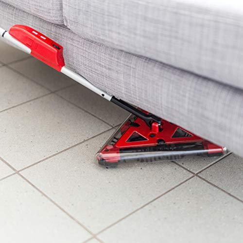Relaxdays Akkusauger beutellos, Dreieck-Akkubesen kabellos mit rotierenden Bürsten, Kehrbesen elektrisch 115x34 cm, rot - 4