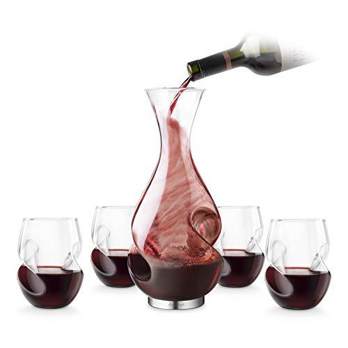 Final Touch estatólatra vino tinto juego de decantador botella de agua estatólatra 375 ml y rojo estatólatra copas de vino 473 ml - Juego de Exclusive en caja de regalo