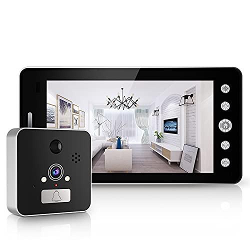 YUTAO Videoportero Inalámbrico: Video HD, Vista De 180 °, Visión Nocturna, 2 Canales De Audio, Conexión Directa A Wi-Fi, No Se Requiere Concentrador, WiFi De Alta Definición 1080P