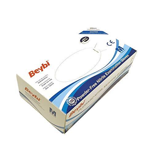 Guantes de Nitrilo sin polvo RF05 Caja de 100pc Azul.Talla M, Máxima protección, suavidad y elasticidad. Indicado para hospitales, alimentación, automoción, etc. ✅