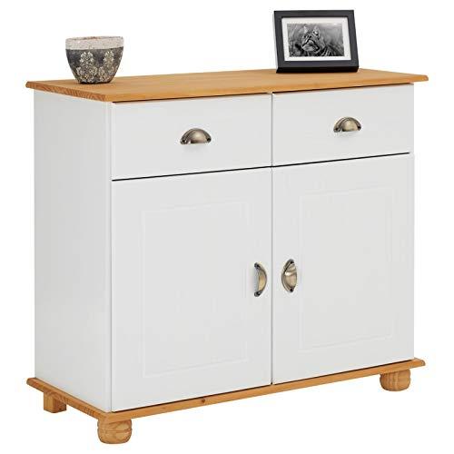IDIMEX Apothekerkommode Anrichte Colmar, Kiefer massiv weiß/braun mit 2 Schubladen und 2 Türen inklusive 1 Einlegeboden