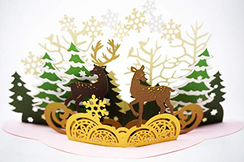 Deer Forest Christmas Pop Up Card - Holiday Pine Trees, Snowflakes, Reindeers, Navidad Scene - Message Page for Personalized Greeting - Funny, Amazing, Happy Holiday Gifts - Blank Inside, Envelope