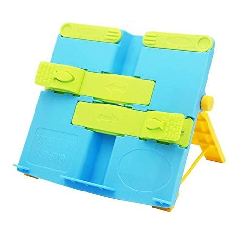 POJAP Plastic Opvouwbare boekenstandaard Bracket Kookboek Handboeken Document Lezen Rest Bracket, 2 PCS Blauw