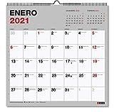 MIQUELRIUS - Calendario de Pared 2021 Básico Cuadrado - Español, 300 x 300 mm con espacio para escribir y apuntar, Color Gris