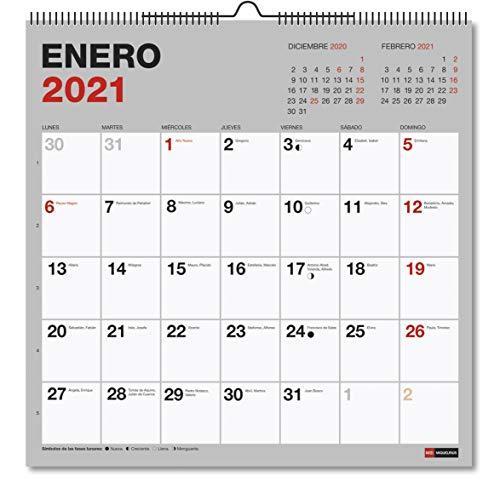 MIQUELRIUS - Calendario de Pared 2021 Básico Cuadrado - Catalán, A3 300 x 300 mm con espacio para escribir y apuntar, Color Gris