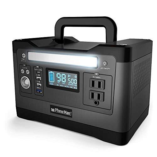 PhewMan ポータブル電源 大容量 正弦波 家庭用蓄電池 静音設計 (500W / 540Wh / 150,000mAh) PSEマーク認証済 [ USB Type C / QC3.0 / AC/シガーソケット/ソーラー 対応 ] 30日間返品受付 [