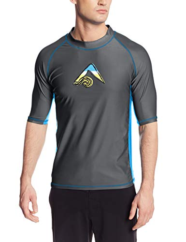 Kanu Surf Men's UPF 50+ Short Sleeve Sun Protective Rashguard Swim Shirt, Mercury Charcoal, X-Large