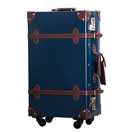 TANOBI トランクケース スーツケース キャリーバッグ SSサイズ機内持ち込み可 復古主義 おしゃれ 可愛い 12色4サイズ (ネイビー×ブラウン, Lサイズ(5泊以上))