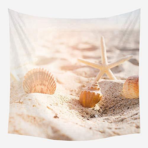 Tapiz de playa de mar árbol de coco alfombra colgante de pared estrella de mar manta de pared de playa decoración del hogar tela de fondo A10 150x200cm