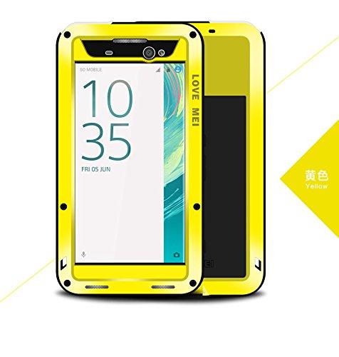 HS-TOP - Carcasa híbrida para Sony Xperia XA Ultra, resistente al agua, antigolpes, antipolvo, aluminio Lovemei para Xperia XA Ultra, color amarillo