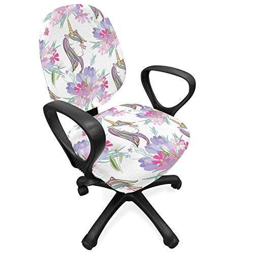 Lunarable Pastel Office Chair Slipcover, Print of Unicorns and Violet Tone Flowers Blossoming Fantasy World Items Art, Protective Stretch Decorative Fabric Cover, Standard Size, Lilac White
