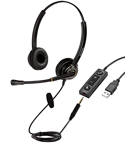 USB Headset/3.5mm Computer Headset with Mic Noise Cancelling and Volume Controls, PC Headset with Voice Recognition Microphone for Teams Business Skype Zoom Dragon Online Course and Many More