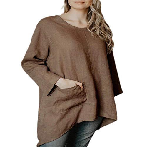 AngelSpace 女性ハイローロングスリーブピュアカラーOネックオーバーサイズトップブラウスシャツ Coffee XS