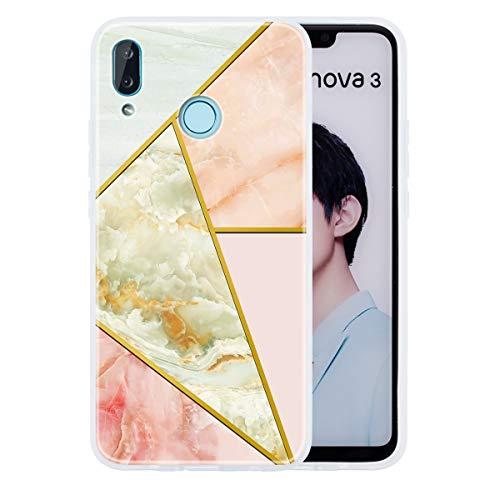 LUSHENG Capa compatível com mármore Huawei Nova 3i, capa amortecedora de borracha TPU macia brilhante à prova de choque para mulheres e homens para Huawei Nova 3i 6,3 polegadas - Jade