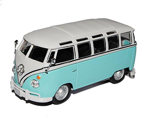 Cararama VW Volkswagen T1 Transporter Personen Bully Blau Weiss 1/43 Modell Auto mit individiuellem Wunschkennzeichen