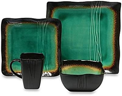 Square 16-Piece Dinnerware Set in Jade by Baum Galaxy