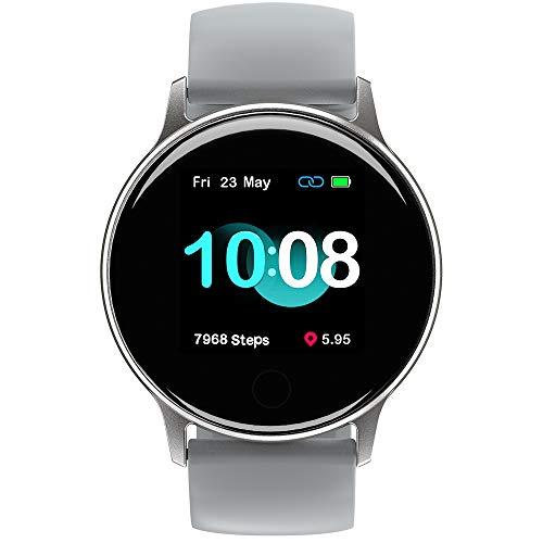 """Smart Watch UMIDIGI Uwatch 2S Fitness Tracker, Monitor de frequência cardíaca, com tela de toque de 1,3"""", 5ATM, Pedômetro, à prova d'água, Monitor de sono, para iPhone e Android (Cinza)"""
