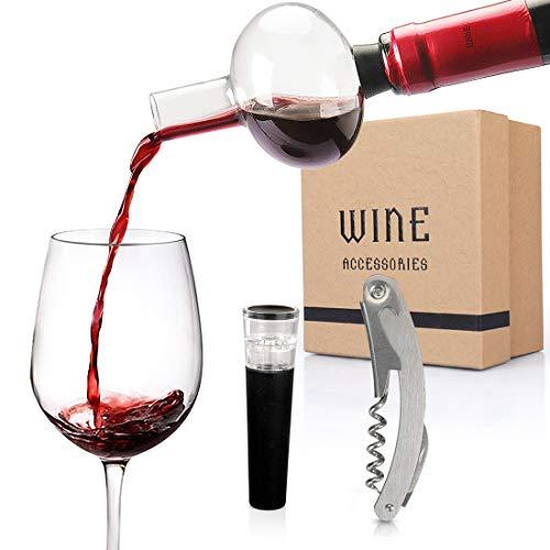 Yobansa Decanter per Vino in Vetro, caraffa per Vino, cavatappi per Vino, Tappo per Vino, versatore per Vino, Set Decanter per Vino, Set Regalo Accessori per Il Vino (Style 01)