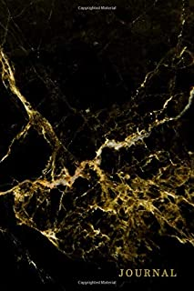 Journal: Black & gold marble ruled notebook. Cute lined workbook for writing, journaling, and doodling.