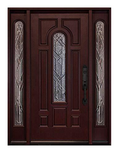 exterior doors Fiberglass Single Doors with Sidelites Pre-Hung Right-Hand Swinging Exterior Door Gate Entrance Front Entry Outside Door (Left-Hand, Sidelites 12x36x12x80)