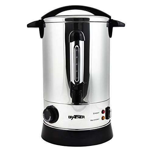 Grafner XL Glühweinkocher aus Edelstahl - 8,8 Liter - 1500 Watt mit Zapfhahn, Thermostat und Überhitzungsschutz Heißgetränkespender