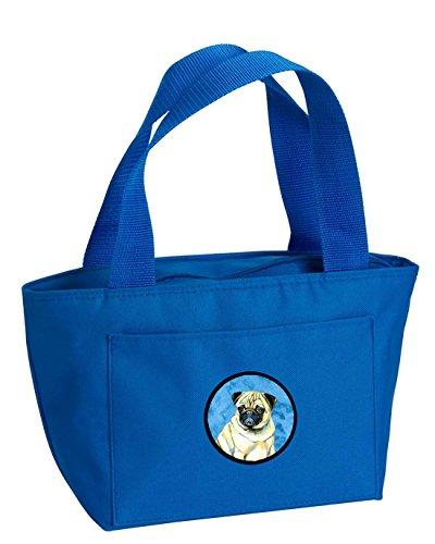 Caroline's Treasures LH9387BU Pug Lunch or Doggie Bag, Large, Blue
