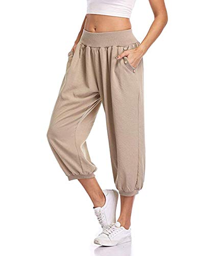 Dilgul Damen 3/4 Hose Sommer Casual Yoga Capris Crop Hose Elastische Taille mit Knopf Baggy Weite Hose