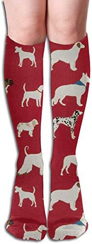 Rote, weiße und schwarze Baumwollhundelange Schenkel-hohe Socken Kniehohe Schlauch-Socke 50cm für Frauen-Mädchen