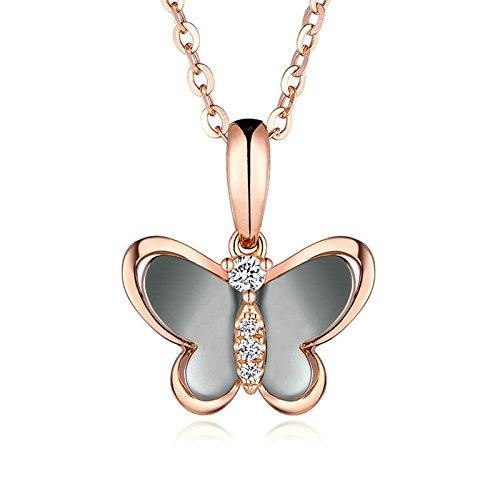 Epinki Oro 18K Mujer Collar de Diamantes Mariposa Forma Colgante Joyería Nupcial Elegante Cadena de...