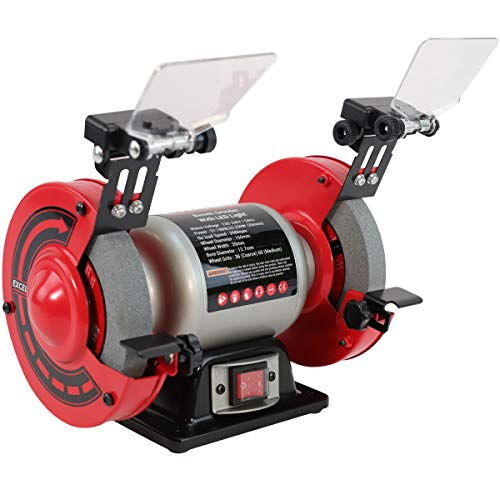 Excel Bench Grinder 250W 6  Twin Wheel Bench Grinder with LED