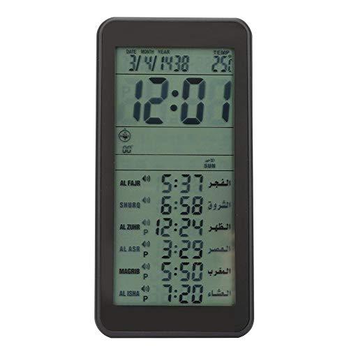Pssopp Islamische Uhr Digitale Azan-Uhr Muslimische Gebetserinnerung Wecker Multifunktions-LCD-Uhr ohne Batterie(schwarz)