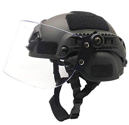 JYKOO Airsoft Tactical Helm Mir 2000 Militär Paintball SWAT Polizei Helm mit klaren Riot Visor Face Shield Sliding Schutzbrillen und Seitliche Schiene NVG Einfassung Schwarz
