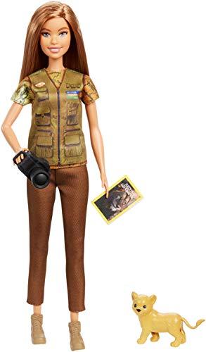 Barbie- Carriere Fotoreporter Bambola Bruna con Cucciolo di Leone, Ispirata a National Geographic, Giocattolo per Bambini 3 + Anni, GDM46