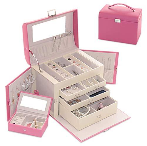 ZHANGYY Boîte à Bijoux, Organisateur de Bijoux avec tiroirs, boîte à Bijoux verrouillable avec Miroir, pour bagues, Bracelets, Boucles d'oreilles, Colliers, Doublure en Velours