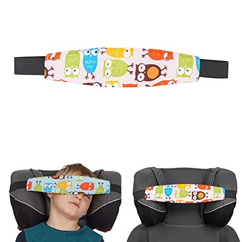 Kopfhalter für Kindersitze, 1 Pack, Eulen Design, Baumwolle Bezug, verwendbar mit Baby Nackenkissen, Kinder schlafen im Auto Zubehör, Kopfgurt Autositz, Auto Reise Kinder schlafen, Kopfband Autofahrt
