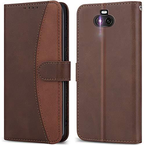 LEBE Handyhülle für Sony Xperia 10 Hülle Leder, Flip Etui Handytasche Schutzhülle [Kartenfach] [Magnetverschluss] für Sony Xperia 10 -Braun