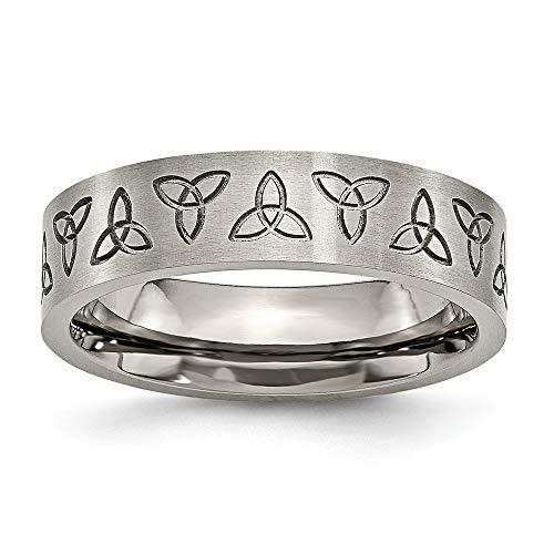 Beitel Titanium Geborsteld Platte Band Gravure Trinity Symbool Satijn 6mm Band Ring - Maat S 1/2